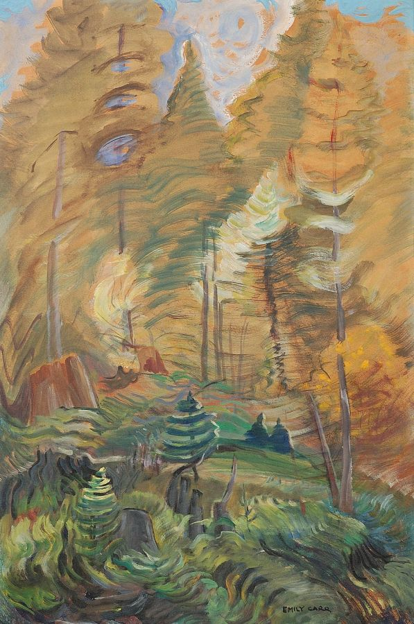 Emily Carr, Young and Old Trees, 1935, oil on paper, mounted on panel. Gift of Dr Max Stern in honour of Frances K. Smith, curator emeritus, 1983 (26-026)