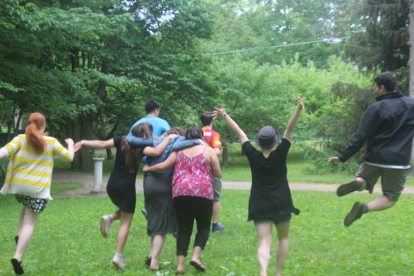 Group leaps away