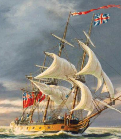 Ontario under sail. Painting by Peter Rindlishbacher